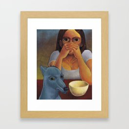 A Girl and Her Dog Framed Art Print