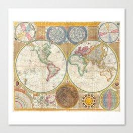 1794 Vintage World Map Samuel Dunn Canvas Print