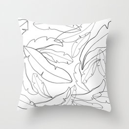 Black and White Banana Leaves Throw Pillow