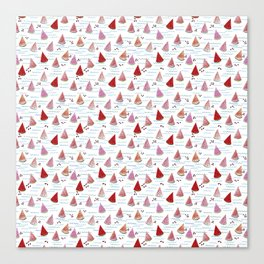 Seamless pattern with slices of watermelon and waves on a white background. Canvas Print