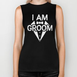 I Am Groom Wedding Bride Wife Husband Friends Marriage Design Biker Tank