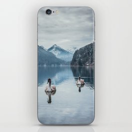 Couple of swans, romantic scene in bavarian alps iPhone Skin