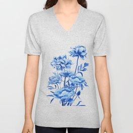 blue peonies Unisex V-Neck
