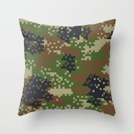 Pixel Woodland Camo Camouflage Pattern Throw Pillow
