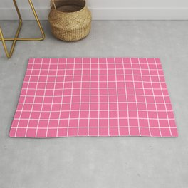 Cyclamen - pink color - White Lines Grid Pattern Rug