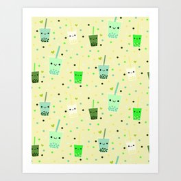 Happy Boba Bubble Tea Yellow Art Print