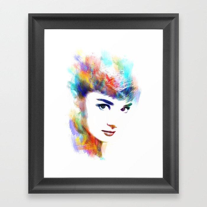 Audrey Hepburn Framed Art Print by michaelakers   Society6