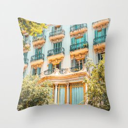 Facade Building Architecture Print, City Of Barcelona, Summer Travel Print, Urban Details In Spain Throw Pillow