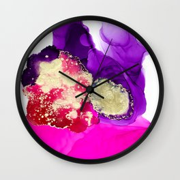 The lady ghosts (alcohol ink abstract in pink purple and gold) Wall Clock