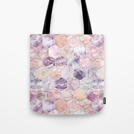 Rose Quartz and Amethyst Stone and Marble Hexagon Tiles Tote Bag