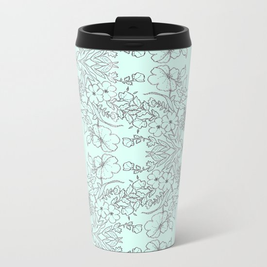 Dotted Floral Scroll in Mint and Grey Metal Travel Mug