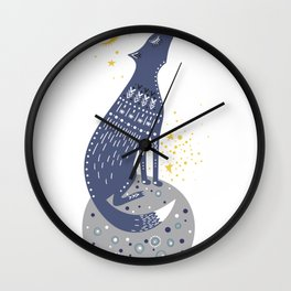 Whimsical Wolf Sitting on the Moon Howling Cartoon Wolf Wall Clock