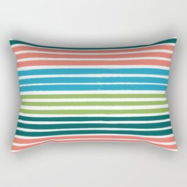 Minimal striped summer tropical pattern blue green happy pattern for beach Rectangular Pillow