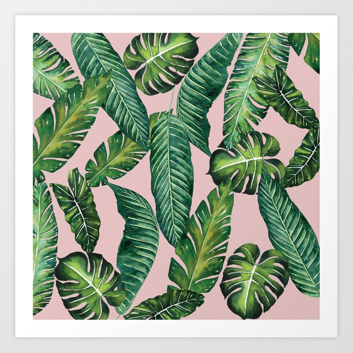 Jungle Leaves, Banana, Monstera II Pink #society6 Art Print