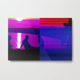 Real Glitch Effect Lovers in Nice French Riviera Metal Print