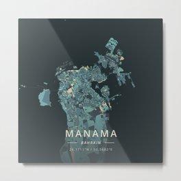 Manama, Bahrain - Cream Blue Metal Print