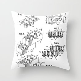 Legos Patent - Legos Brick Art - Black And White Throw Pillow