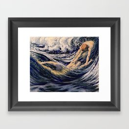 """Two fishes swimming in the sea not more lawless than we"" (Margaret C. Cook, Leaves of Grass, 1913) Framed Art Print"