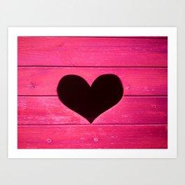 Wooden heart - pinkish Art Print