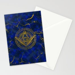 All Seeing Mystic Eye in Masonic Compass on Lapis Lazuli Stationery Cards