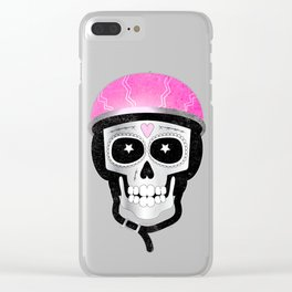 Day of the Dead Biker Skull Clear iPhone Case