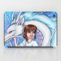 chihiro iPad Cases featuring Spirited Away Chihiro and Haku by Kimberly Castello