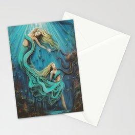 The Mermaid's Gift // Ocean Goddess Sea Siren Nymph Underwater Octopus Coral Fish Girl Feminine Stationery Cards