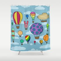 hot air balloons Shower Curtains featuring Happy Hot Air Balloons by Eliza Stein