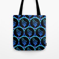 mass effect Tote Bags featuring Mass Effect Paragon by foreverwars