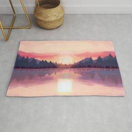 Morning Sunshine over the Peaceful Mountain Lake Rug