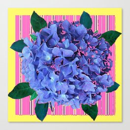 BLUE ABSTRACTED HYDRANGEA YELLOW-PINK Canvas Print