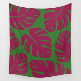 Monstera Leaf Print 4 Wall Tapestry