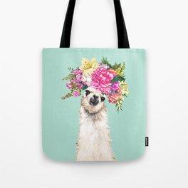 Flower Crown Llama in Green Tote Bag