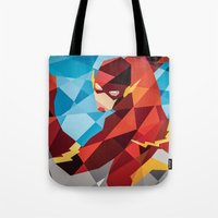dc comics Tote Bags featuring DC Comics Flash by Eric Dufresne