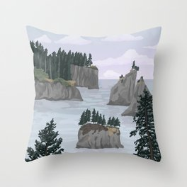 Olympic National Park Poster, Washington, illustrated National Parks USA Throw Pillow