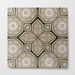 Victorian Art Deco Medieval Pattern gray SB18 Metal Print