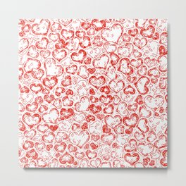 Vivid Hearts, red Metal Print