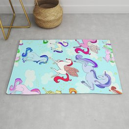 Unicorn repeating pattern colorful on blue Rug