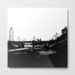 Thames skyline in black and white, London, UK Metal Print