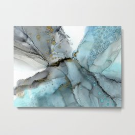Stratus - light blue and gray, watercolor style abstract in alcohol inks Metal Print