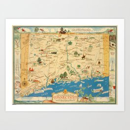Historical Map of Connecticut  Art Print