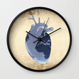The earth is our heart - EARTH DAY '16 - all artist profits to be donated Wall Clock