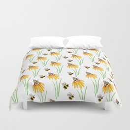 Rudbeckia Cone Flowers & Bumble Bees Duvet Cover