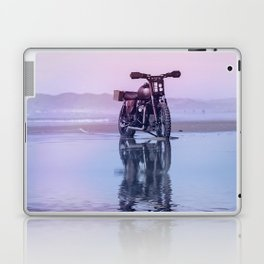 Where the Journey  begins Motorcycle at the Water Sunset Laptop & iPad Skin