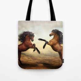 The Dueling Stallions Tote Bag