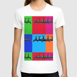 Industrial inspiration for a colorful tap design T-shirt