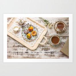 Tea cups and fruit tarts Art Print