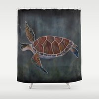 sea turtle Shower Curtains featuring turtle by LisaBCreations
