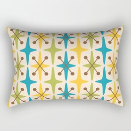 Mid Century Modern Abstract Star Pattern 441 Yellow Brown Turquoise Chartreuse Rectangular Pillow