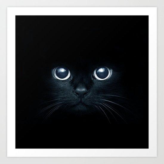 Black Cat in The Dark Art Print